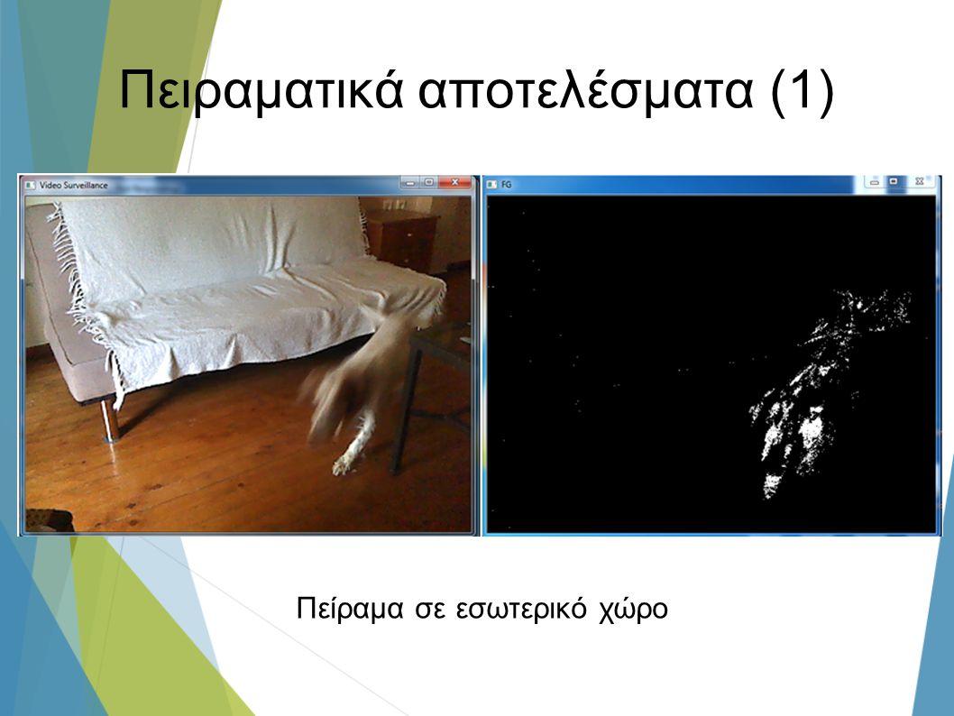Πειραματικά αποτελέσματα (1) Πείραμα σε εσωτερικό χώρο