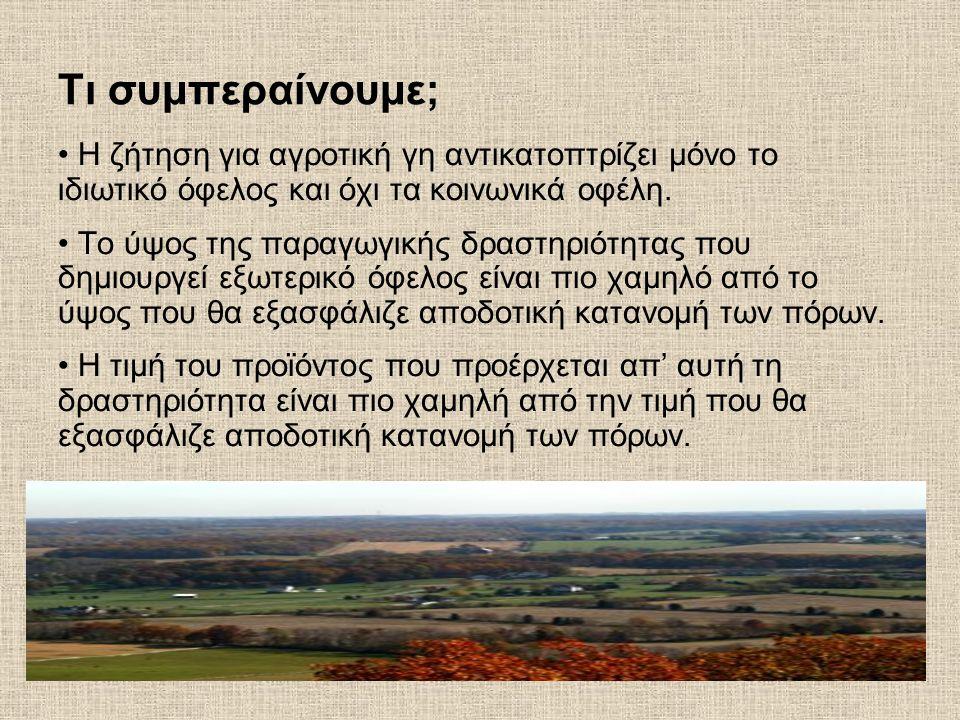 Τι συμπεραίνουμε; Η ζήτηση για αγροτική γη αντικατοπτρίζει μόνο το ιδιωτικό όφελος και όχι τα κοινωνικά οφέλη. Το ύψος της παραγωγικής δραστηριότητας
