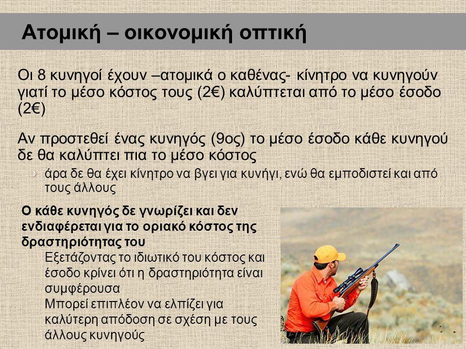 Οι 8 κυνηγοί έχουν –ατομικά ο καθένας- κίνητρο να κυνηγούν γιατί το μέσο κόστος τους (2€) καλύπτεται από το μέσο έσοδο (2€) Αν προστεθεί ένας κυνηγός