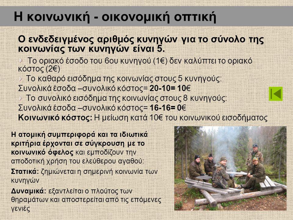 Η κοινωνική - οικονομική οπτική Ο ενδεδειγμένος αριθμός κυνηγών για το σύνολο της κοινωνίας των κυνηγών είναι 5. Το οριακό έσοδο του 6ου κυνηγού (1€)