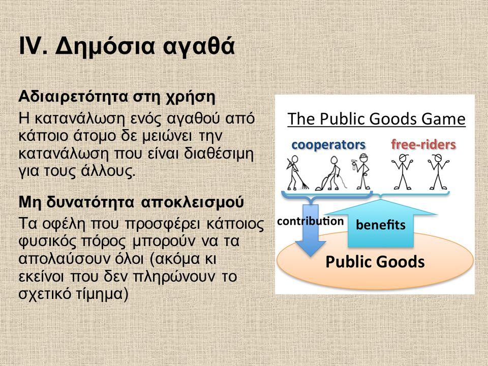 IV. Δημόσια αγαθά Αδιαιρετότητα στη χρήση Η κατανάλωση ενός αγαθού από κάποιο άτομο δε μειώνει την κατανάλωση που είναι διαθέσιμη για τους άλλους. Μη