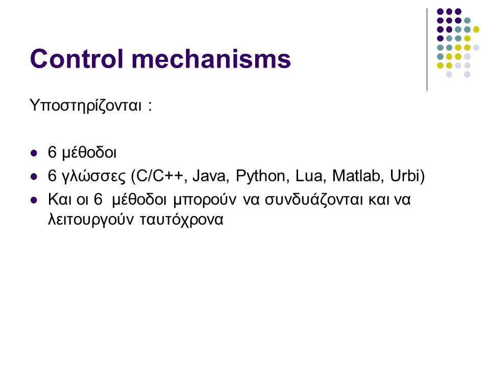 Control mechanisms Υποστηρίζονται : 6 μέθοδοι 6 γλώσσες (C/C++, Java, Python, Lua, Matlab, Urbi) Και οι 6 μέθοδοι μπορούν να συνδυάζονται και να λειτουργούν ταυτόχρονα
