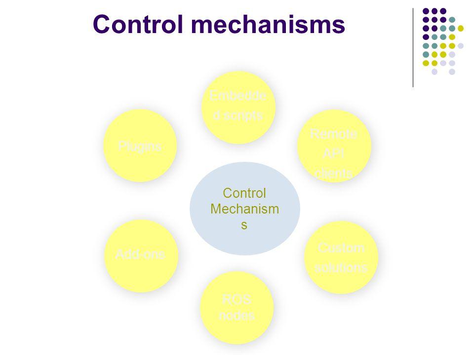 Control mechanisms Control Mechanism s Add-ons Remote API clients Plugins ROS nodes Custom solutions Embedde d scripts