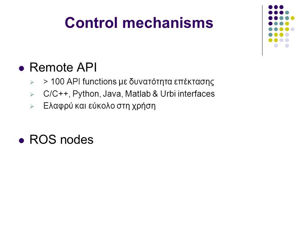 Control mechanisms Remote API  > 100 API functions με δυνατότητα επέκτασης  C/C++, Python, Java, Matlab & Urbi interfaces  Ελαφρύ και εύκολο στη χρήση ROS nodes
