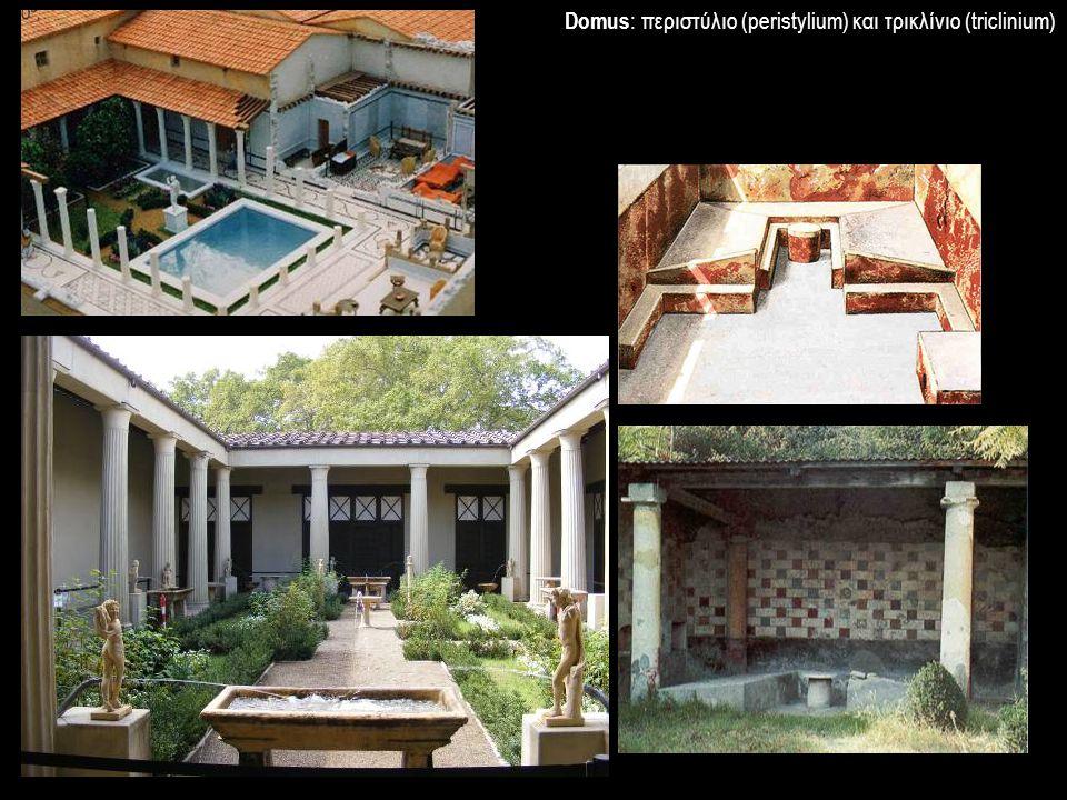 Domus : περιστύλιο (peristylium) και τρικλίνιο (triclinium)