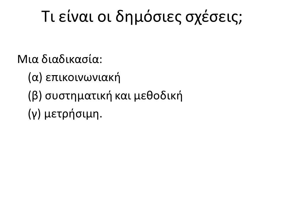 Τι είναι οι δημόσιες σχέσεις; Μια διαδικασία: (α) επικοινωνιακή (β) συστηματική και μεθοδική (γ) μετρήσιμη.