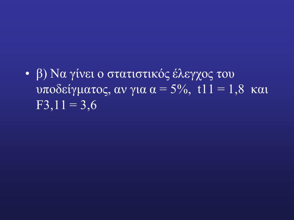 β) Να γίνει ο στατιστικός έλεγχος του υποδείγματος, αν για α = 5%, t11 = 1,8 και F3,11 = 3,6