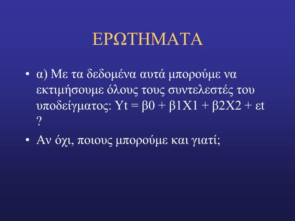 EΡΩΤΗΜΑΤΑ α) Με τα δεδομένα αυτά μπορούμε να εκτιμήσουμε όλους τους συντελεστές του υποδείγματος: Υt = β0 + β1Χ1 + β2Χ2 + εt .