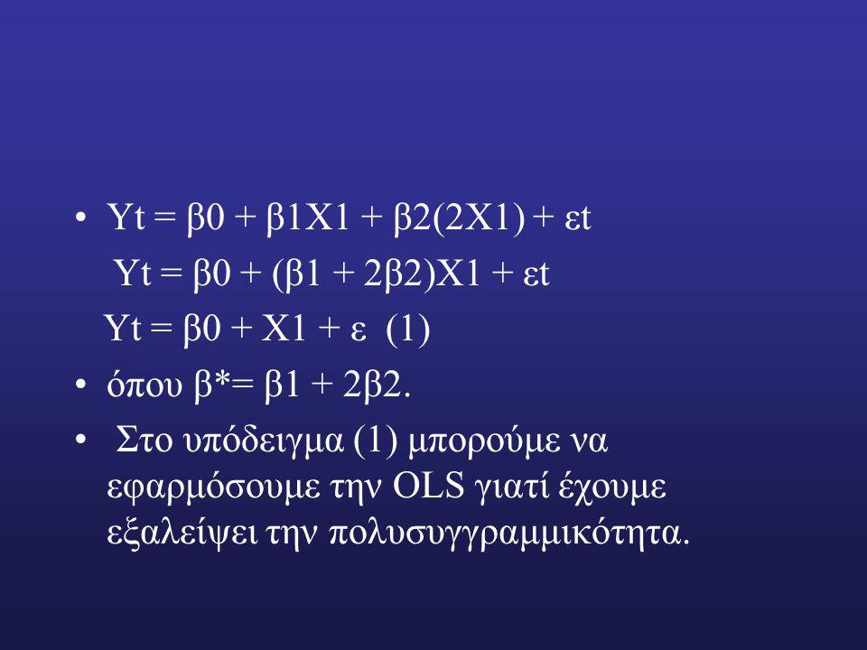 Υt = β0 + β1Χ1 + β2(2Χ1) + εt Υt = β0 + (β1 + 2β2)Χ1 + εt Υt = β0 + Χ1 + ε (1) όπου β*= β1 + 2β2.