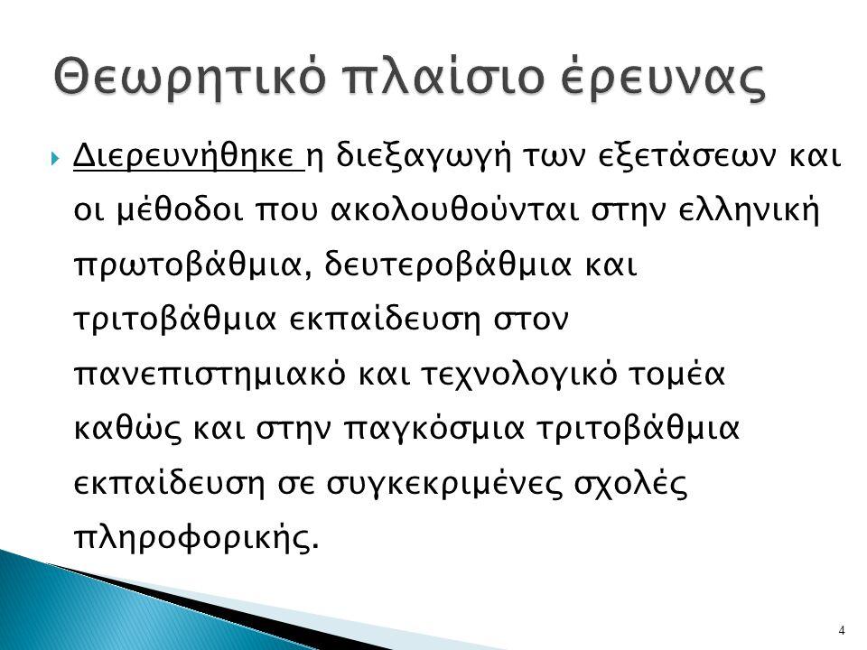  Διερευνήθηκε η διεξαγωγή των εξετάσεων και οι μέθοδοι που ακολουθούνται στην ελληνική πρωτοβάθμια, δευτεροβάθμια και τριτοβάθμια εκπαίδευση στον πανεπιστημιακό και τεχνολογικό τομέα καθώς και στην παγκόσμια τριτοβάθμια εκπαίδευση σε συγκεκριμένες σχολές πληροφορικής.