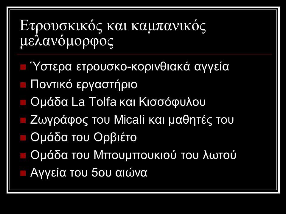 Ετρουσκικός και καμπανικός μελανόμορφος Ύστερα ετρουσκο-κορινθιακά αγγεία Ποντικό εργαστήριο Ομάδα La Tolfa και Κισσόφυλου Ζωγράφος του Micali και μαθητές του Ομάδα του Ορβιέτο Ομάδα του Μπουμπουκιού του λωτού Αγγεία του 5ου αιώνα