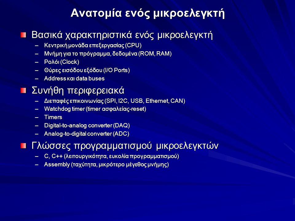 Ο μικροελεγκτής arduino Τί είναι το arduino –Ιταλία, 2005 –αποτελεί ολοκληρωμένο αναπτυξιακό σύστημα (Ιταλία, 2005) – –προσφέρει δυνατότητες υλοποίησης εφαρμογών σε τομείς της ηλεκτρονικής Τα μέρη από τα οποία αποτελείται: –Πλακέτα (Hardware), –Ολοκληρωμένο περιβάλλον ανάπτυξης (Arduino IDE) γραμμένο σε JAVA, –Μεγάλη κοινότητα και μια Φιλοσοφία που του δίνουν πνοή Γιατί να επιλέξω το Arduino – –Οικονομικό –διάφορα Λειτουργικά Συστήματα –Συμβατό σε διάφορα Λειτουργικά Συστήματα –Απλό, ευέλικτο προγραμματιστικό περιβάλλον –Ευέλικτης προσαρμογής Υλικού / Ανοιχτού λογισμικού Μικροελεγκτής ATmega328P της ATMEL, 8-bit AVR, RISC-based, 16MHz –Μνήμες Flash memory SRAM memory EEPROM memory Θύρες πλατφόρμας –14 Ψηφιακές Ι/Ο (εισόδου & εξόδου) θύρες –6 Αναλογικές Ι/Ο θύρες Τροφοδοσία –USB ή εξωτερική τροφοδοσία (DC τροφοδοτικό, μπαταρίες) –Θύρες: 3.3V, 5V, GND, RESET