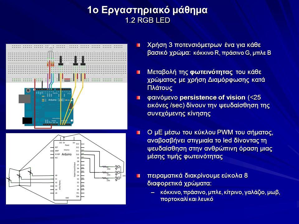 Εμφάνιση αριθμών με αντίστροφη μέτρηση από το 9 έως το 0 μεμονωμένα LEDs συνδυάζονται σε τμήματα (modules), τα οποία μπορούν να απεικονίσουν έναν χαρακτήρα (αριθμό ή γράμμα) Τύπος συνδεσμολογίας: Κοινής καθόδου/ανόδου 1o Εργαστηριακό μάθημα 1.3 7-Segment LED Display