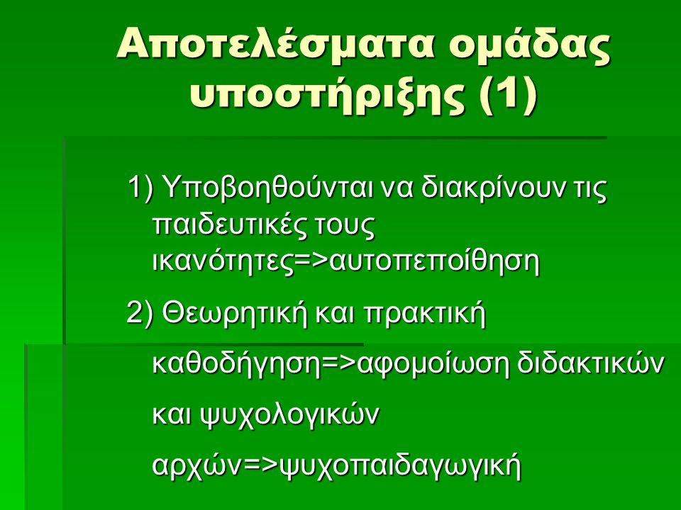 Αποτελέσματα ομάδας υποστήριξης (1) 1) Υποβοηθούνται να διακρίνουν τις παιδευτικές τους ικανότητες=>αυτοπεποίθηση 2) Θεωρητική και πρακτική καθοδήγηση=>αφομοίωση διδακτικών και ψυχολογικών αρχών=>ψυχοπαιδαγωγική