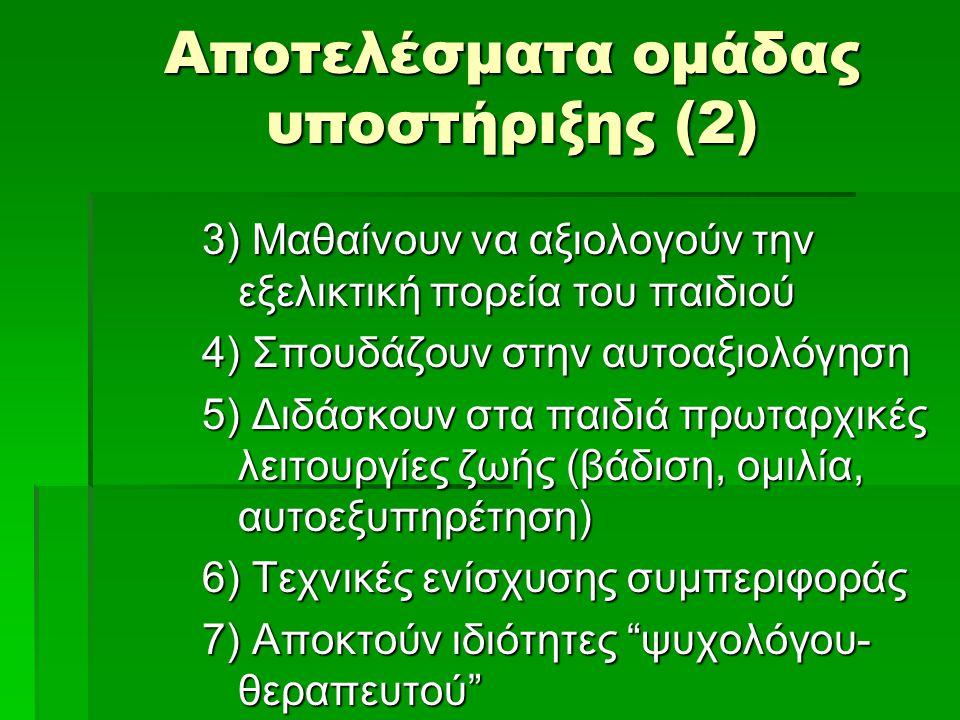 Αποτελέσματα ομάδας υποστήριξης (2) 3) Μαθαίνουν να αξιολογούν την εξελικτική πορεία του παιδιού 4) Σπουδάζουν στην αυτοαξιολόγηση 5) Διδάσκουν στα παιδιά πρωταρχικές λειτουργίες ζωής (βάδιση, ομιλία, αυτοεξυπηρέτηση) 6) Τεχνικές ενίσχυσης συμπεριφοράς 7) Αποκτούν ιδιότητες ψυχολόγου- θεραπευτού