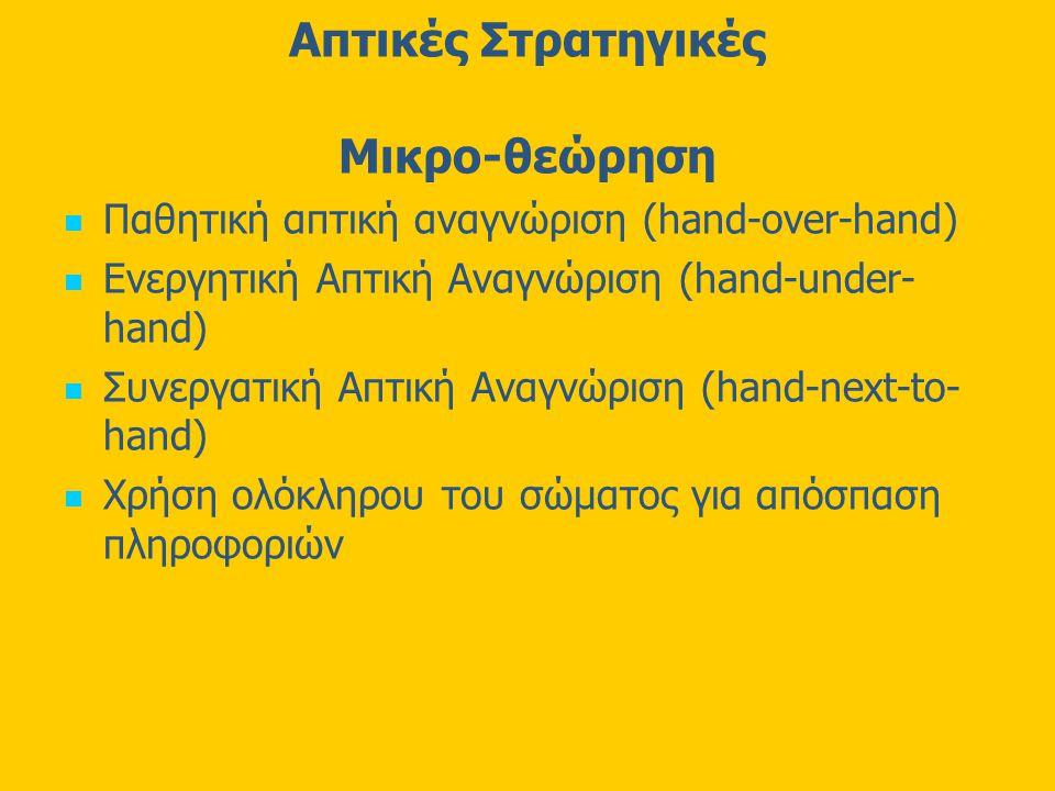 Απτικές Στρατηγικές Μικρο-θεώρηση Παθητική απτική αναγνώριση (hand-over-hand) Ενεργητική Απτική Αναγνώριση (hand-under- hand) Συνεργατική Απτική Αναγνώριση (hand-next-to- hand) Χρήση ολόκληρου του σώματος για απόσπαση πληροφοριών