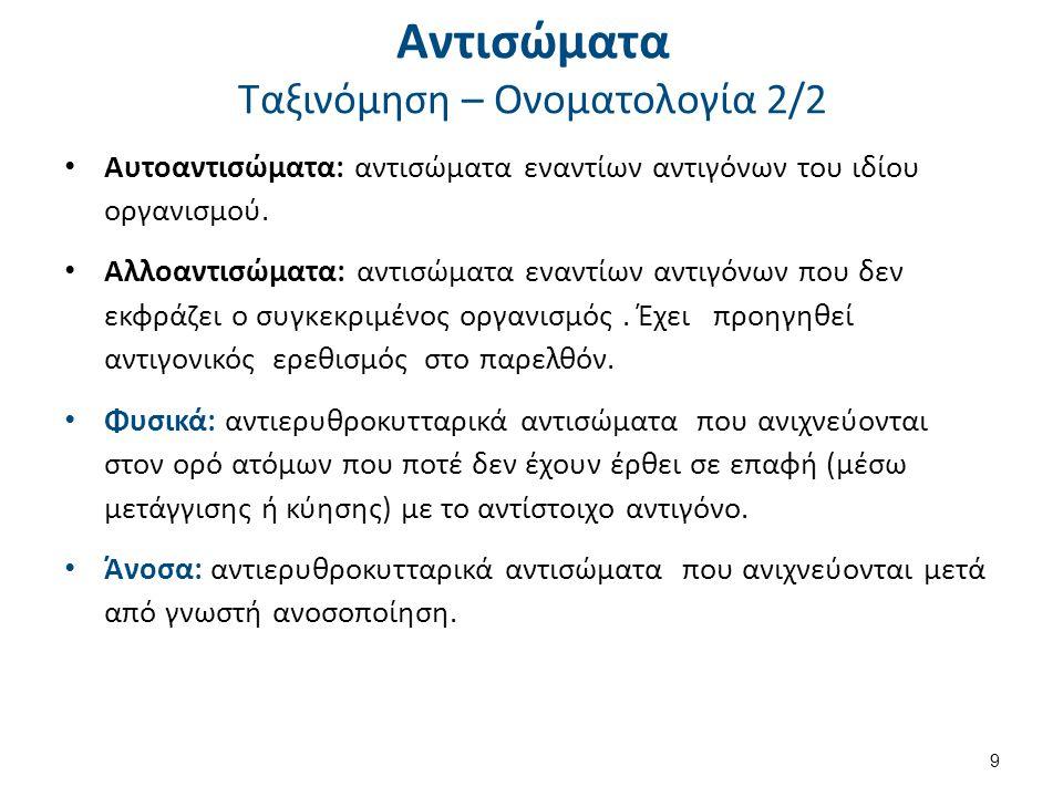 Αντισώματα Ταξινόμηση – Ονοματολογία 2/2 9 Αυτοαντισώματα: αντισώματα εναντίων αντιγόνων του ιδίου οργανισμού. Αλλοαντισώματα: αντισώματα εναντίων αντ