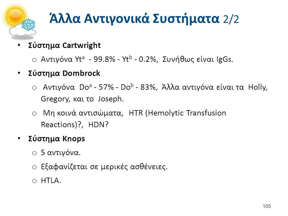 Άλλα Αντιγονικά Συστήματα 2/2 Σύστημα Cartwright o Αντιγόνα Yt a - 99.8% - Yt b - 0.2%, Συνήθως είναι IgGs. Σύστημα Dombrock o Αντιγόνα Do a - 57% - D
