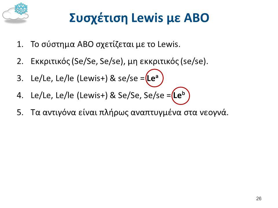 Συσχέτιση Lewis με ΑΒΟ 1.To σύστημα ΑΒΟ σχετίζεται με το Lewis. 2.Εκκριτικός (Se/Se, Se/se), μη εκκριτικός (se/se). 3.Le/Le, Le/le (Lewis+) & se/se =