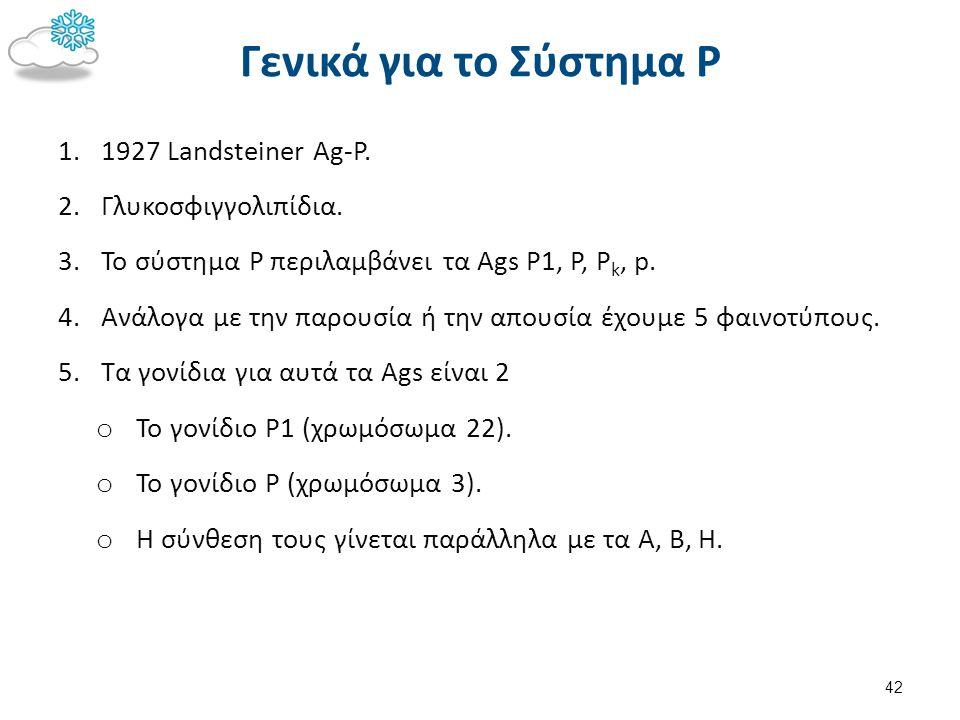 Γενικά για το Σύστημα Ρ 1. 1927 Landsteiner Αg-P. 2. Γλυκοσφιγγολιπίδια. 3. Το σύστημα Ρ περιλαμβάνει τα Ags P1, P, P k, p. 4. Ανάλογα με την παρουσία