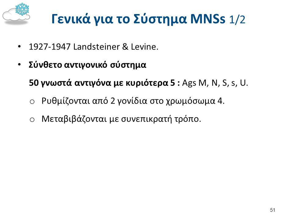 Γενικά για το Σύστημα MNSs 1/2 1927-1947 Landsteiner & Levine. Σύνθετο αντιγονικό σύστημα 50 γνωστά αντιγόνα με κυριότερα 5 : Ags M, N, S, s, U. o Ρυθ