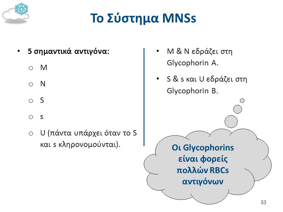 Oι Glycophorins είναι φορείς πολλών RBCs αντιγόνων Το Σύστημα MNSs 5 σημαντικά αντιγόνα: o M o N o S o s o U (πάντα υπάρχει όταν το S και s κληρονομού