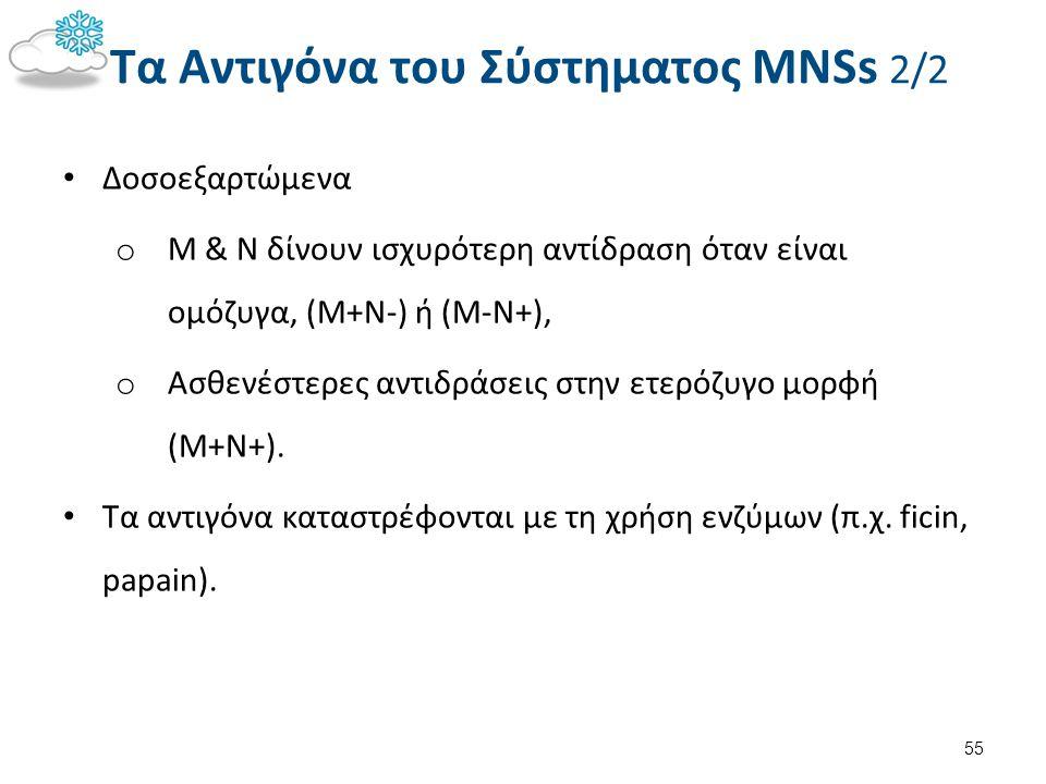 Τα Αντιγόνα του Σύστηματος MNSs 2/2 Δοσοεξαρτώμενα o M & N δίνουν ισχυρότερη αντίδραση όταν είναι ομόζυγα, (M+N-) ή (M-N+), o Ασθενέστερες αντιδράσεις