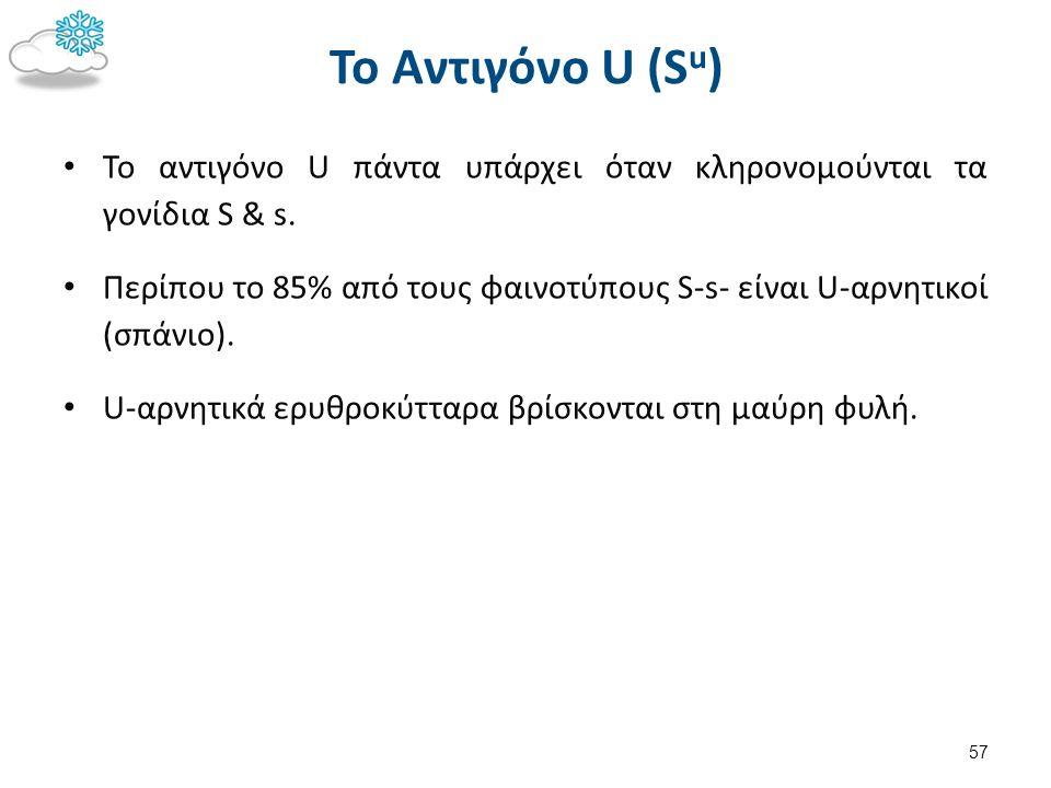 Το Αντιγόνο U (S u ) Το αντιγόνο U πάντα υπάρχει όταν κληρονομούνται τα γονίδια S & s. Περίπου το 85% από τους φαινοτύπους S-s- είναι U-αρνητικοί (σπά