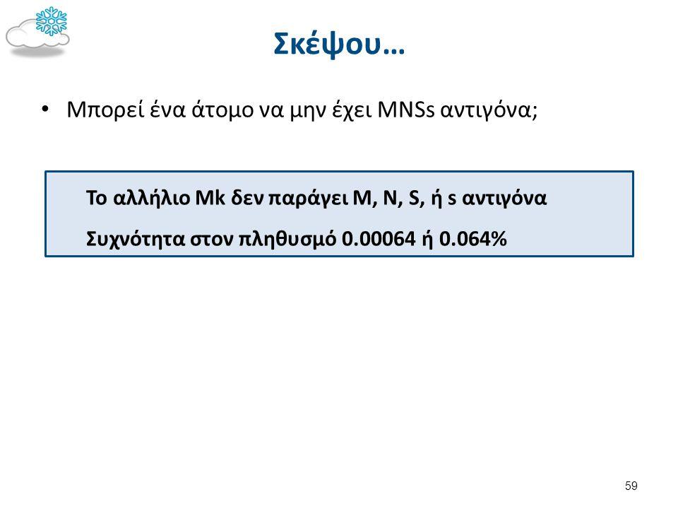 Το αλλήλιο Mk δεν παράγει M, N, S, ή s αντιγόνα Συχνότητα στον πληθυσμό 0.00064 ή 0.064% Σκέψου… Μπορεί ένα άτομο να μην έχει MNSs αντιγόνα; 59