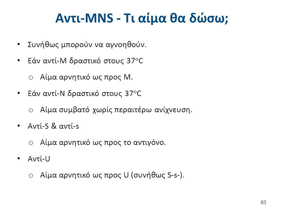 Αντι-MNS - Τι αίμα θα δώσω; Συνήθως μπορούν να αγνοηθούν. Εάν αντί-Μ δραστικό στους 37 ο C o Αίμα αρνητικό ως προς Μ. Εάν αντί-Ν δραστικό στους 37 ο C