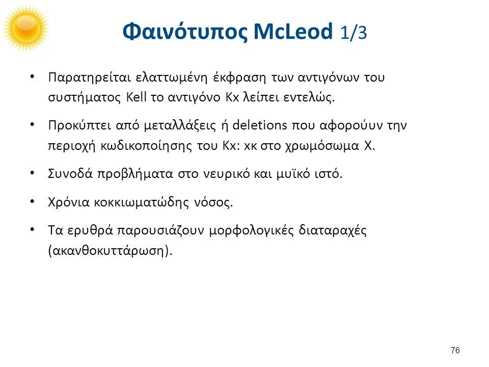 Φαινότυπος McLeod 1/3 Παρατηρείται ελαττωμένη έκφραση των αντιγόνων του συστήματος Kell το αντιγόνο Κx λείπει εντελώς. Προκύπτει από μεταλλάξεις ή del
