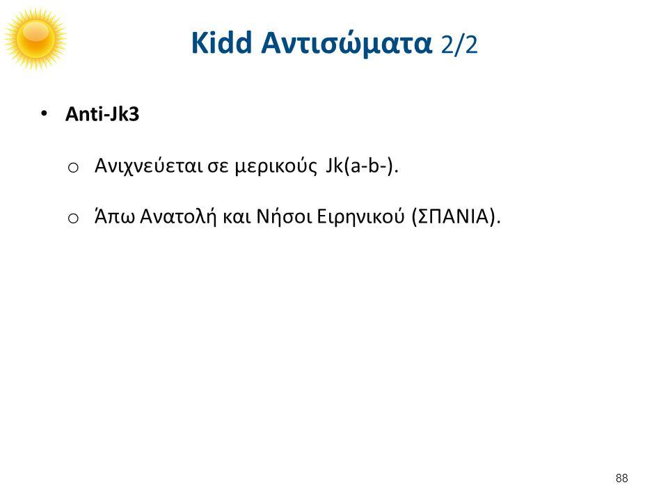 Anti-Jk3 o Ανιχνεύεται σε μερικούς Jk(a-b-). o Άπω Ανατολή και Νήσοι Ειρηνικού (ΣΠΑΝΙΑ). 88 Kidd Αντισώματα 2/2
