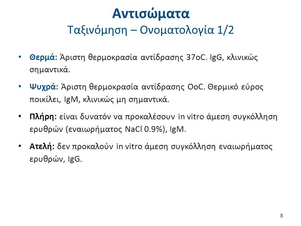 Αντισώματα Ταξινόμηση – Ονοματολογία 1/2 8 Θερμά: Άριστη θερμοκρασία αντίδρασης 37οC. IgG, κλινικώς σημαντικά. Ψυχρά: Άριστη θερμοκρασία αντίδρασης Οο