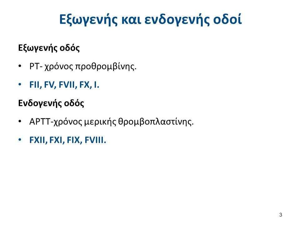 Εξωγενής και ενδογενής οδοί Εξωγενής οδός ΡΤ- χρόνος προθρομβίνης. FII, FV, FVII, FX, I. Ενδογενής οδός ΑΡΤΤ-χρόνος μερικής θρομβοπλαστίνης. FXII, FXI