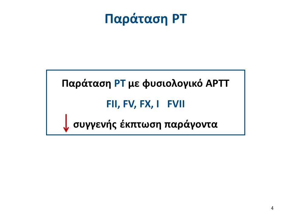 Παράταση ΡΤ με φυσιολογικό ΑΡΤΤ FII, FV, FX, I FVII συγγενής έκπτωση παράγοντα Παράταση PT 4