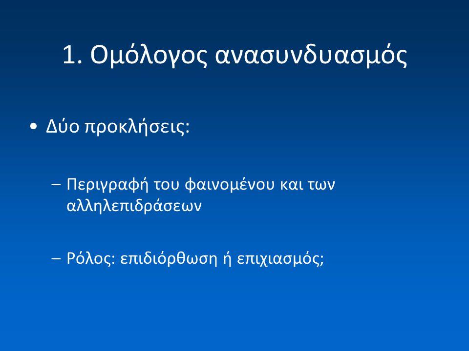 1. Ομόλογος ανασυνδυασμός Δύο προκλήσεις: –Περιγραφή του φαινομένου και των αλληλεπιδράσεων –Ρόλος: επιδιόρθωση ή επιχιασμός;