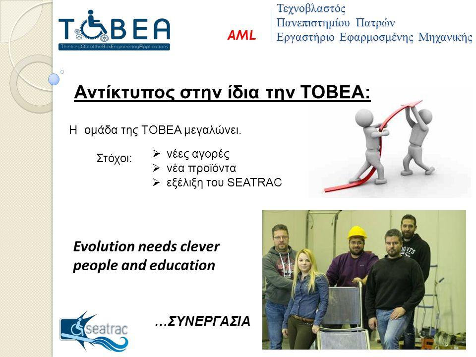 Τεχνοβλαστός Πανεπιστημίου Πατρών Εργαστήριο Εφαρμοσμένης Μηχανικής AML Η ομάδα της ΤΟΒΕΑ μεγαλώνει.