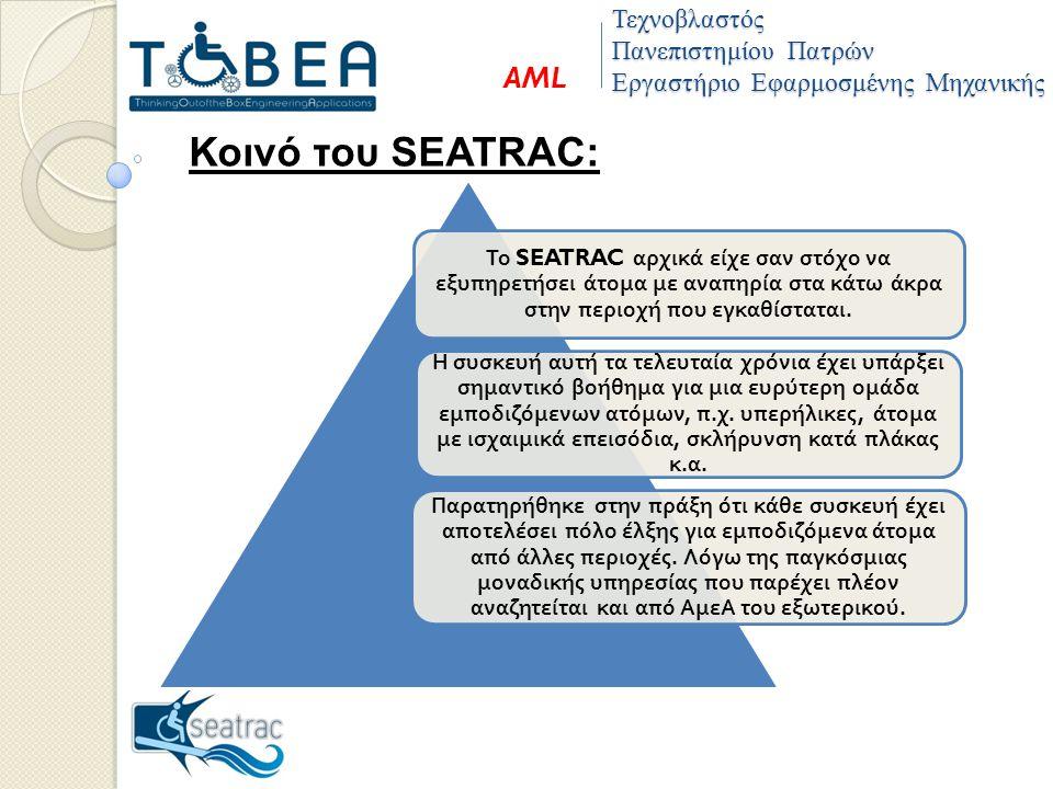 Τεχνοβλαστός Πανεπιστημίου Πατρών Εργαστήριο Εφαρμοσμένης Μηχανικής AML Κοινό του SEATRAC: Το SEATRAC αρχικά είχε σαν στόχο να εξυ π ηρετήσει άτομα με ανα π ηρία στα κάτω άκρα στην π εριοχή π ου εγκαθίσταται.