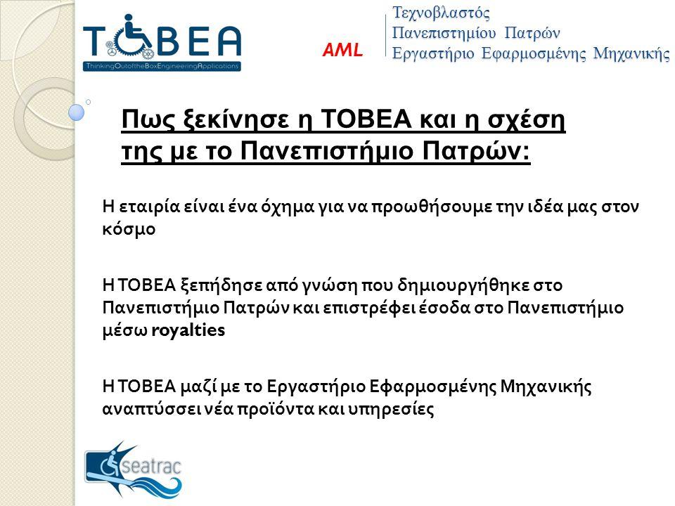 Πως ξεκίνησε η ΤΟΒΕΑ και η σχέση της με το Πανεπιστήμιο Πατρών: Η εταιρία είναι ένα όχημα για να προωθήσουμε την ιδέα μας στον κόσμο Η ΤΟΒΕΑ ξεπήδησε από γνώση που δημιουργήθηκε στο Πανεπιστήμιο Πατρών και επιστρέφει έσοδα στο Πανεπιστήμιο μέσω royalties Η ΤΟΒΕΑ μαζί με το Εργαστήριο Εφαρμοσμένης Μηχανικής αναπτύσσει νέα προϊόντα και υπηρεσίες Τεχνοβλαστός Πανεπιστημίου Πατρών Εργαστήριο Εφαρμοσμένης Μηχανικής AML
