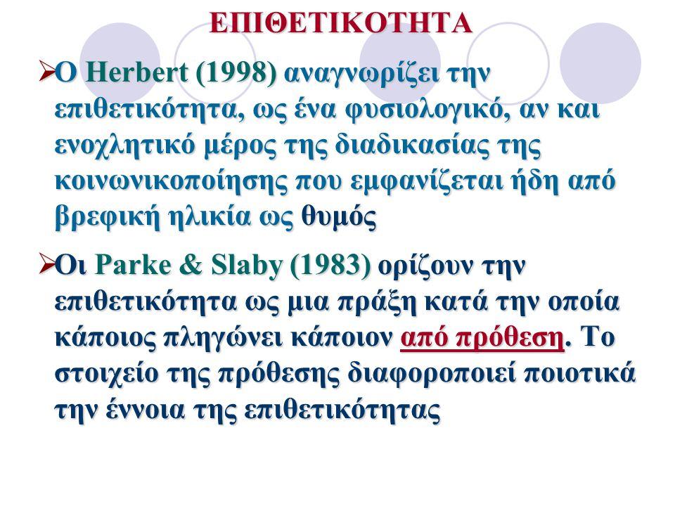 Επιθετικότητα: Μία πράξη κατά την οποία κάποιος από πρόθεση πληγώνει κάποιον άλλον (Parke & Slabby, 1983).