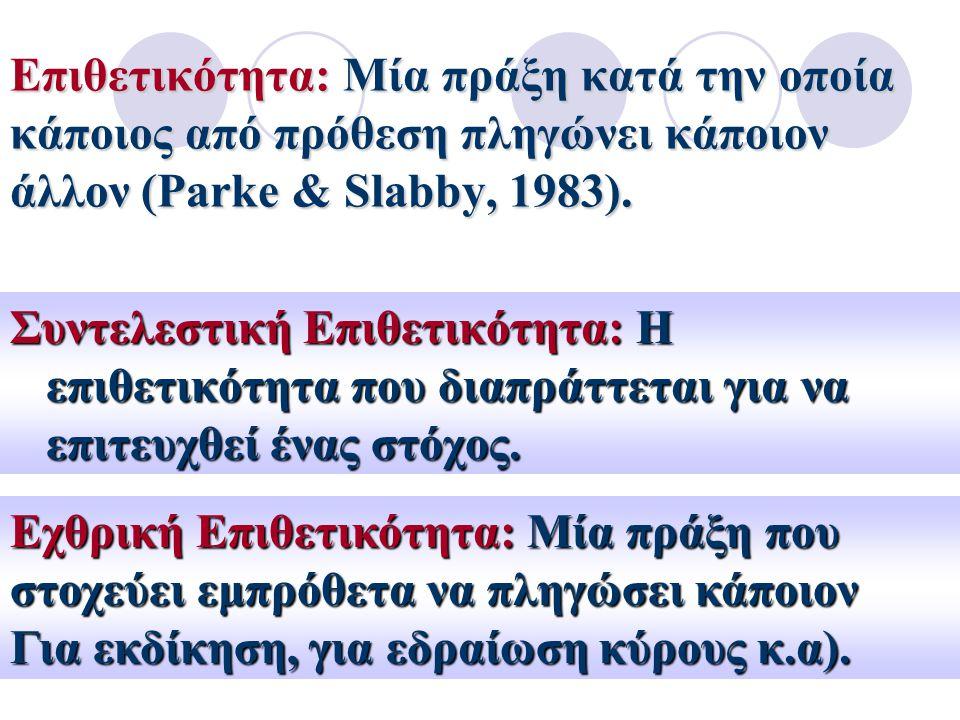 Επιθετικότητα: Μία πράξη κατά την οποία κάποιος από πρόθεση πληγώνει κάποιον άλλον (Parke & Slabby, 1983). Συντελεστική Επιθετικότητα: Η επιθετικότητα