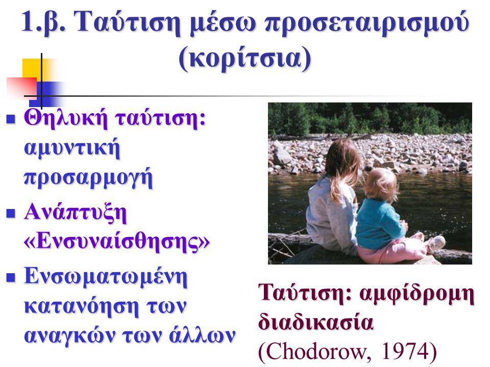 1.β. Ταύτιση μέσω προσεταιρισμού (κορίτσια) Θηλυκή ταύτιση: αμυντική προσαρμογή Θηλυκή ταύτιση: αμυντική προσαρμογή Ανάπτυξη «Ενσυναίσθησης» Ανάπτυξη