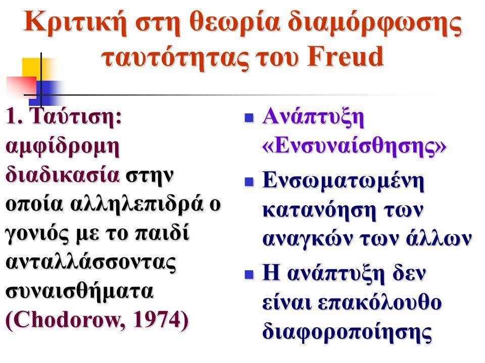 Κριτική στη θεωρία διαμόρφωσης ταυτότητας του Freud Ανάπτυξη «Ενσυναίσθησης» Ανάπτυξη «Ενσυναίσθησης» Ενσωματωμένη κατανόηση των αναγκών των άλλων Ενσ