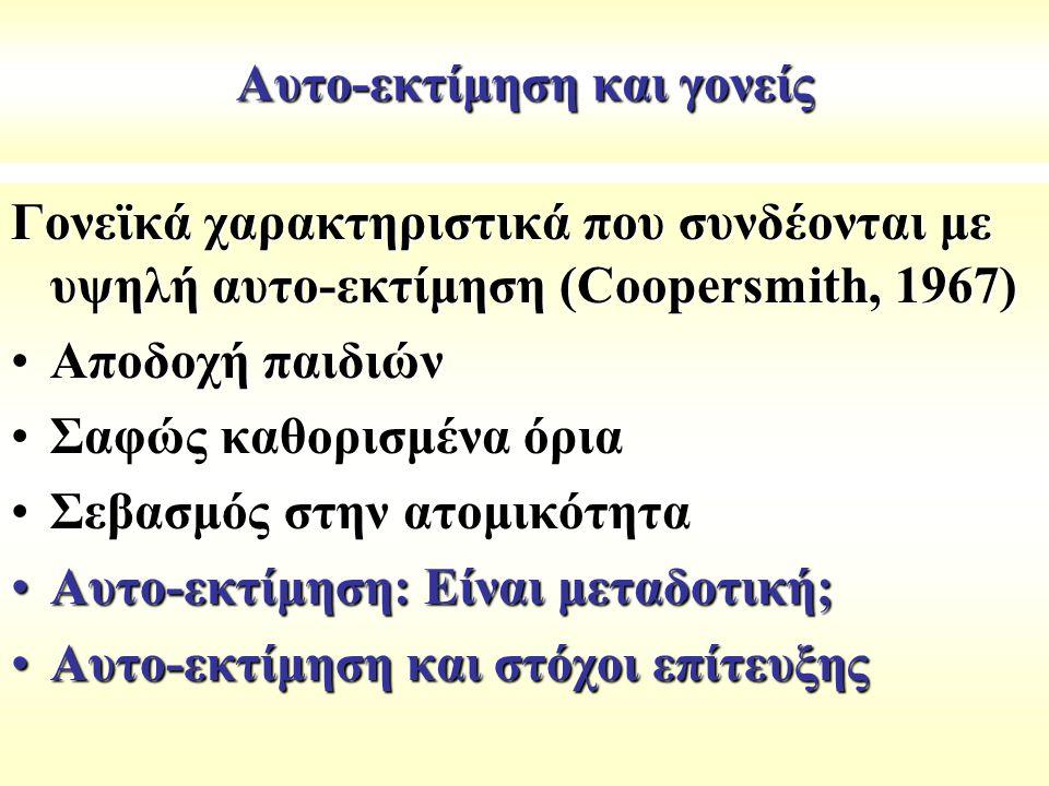 Αυτο-εκτίμηση και γονείς Γονεϊκά χαρακτηριστικά που συνδέονται με υψηλή αυτo-εκτίμηση (Coopersmith, 1967) Αποδοχή παιδιώνΑποδοχή παιδιών Σαφώς καθορισ