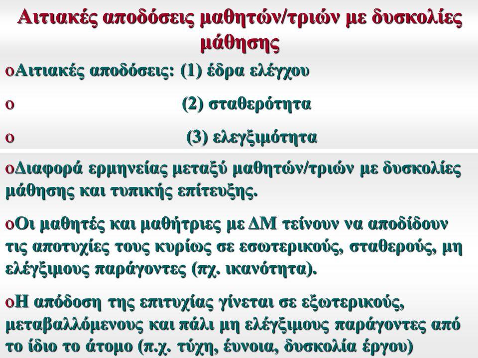 Αιτιακές αποδόσεις μαθητών/τριών με δυσκολίες μάθησης oΑιτιακές αποδόσεις: (1) έδρα ελέγχου o (2) σταθερότητα o (3) ελεγξιμότητα oΔιαφορά ερμηνείας με