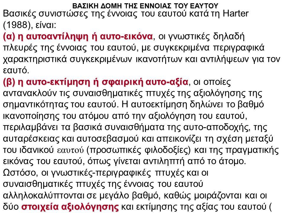 Βασικές συνιστώσες της έννοιας του εαυτού κατά τη Harter (1988), είναι: (α) η αυτοαντίληψη ή αυτο-εικόνα (α) η αυτοαντίληψη ή αυτο-εικόνα, οι γνωστικέ