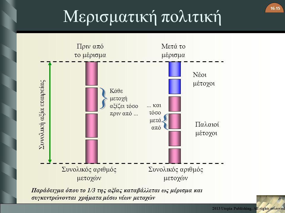 16-15 Μερισματική πολιτική Πριν από το μέρισμα Μετά το μέρισμα Νέοι μέτοχοι Κάθε μετοχή αξίζει τόσο πριν από...