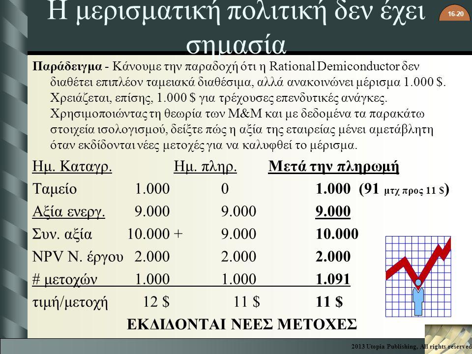 16-20 Η μερισματική πολιτική δεν έχει σημασία Παράδειγμα - Κάνουμε την παραδοχή ότι η Rational Demiconductor δεν διαθέτει επιπλέον ταμειακά διαθέσιμα, αλλά ανακοινώνει μέρισμα 1.000 $.