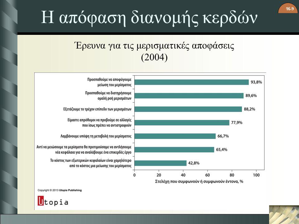 16-9 Η απόφαση διανομής κερδών Έρευνα για τις μερισματικές αποφάσεις (2004)