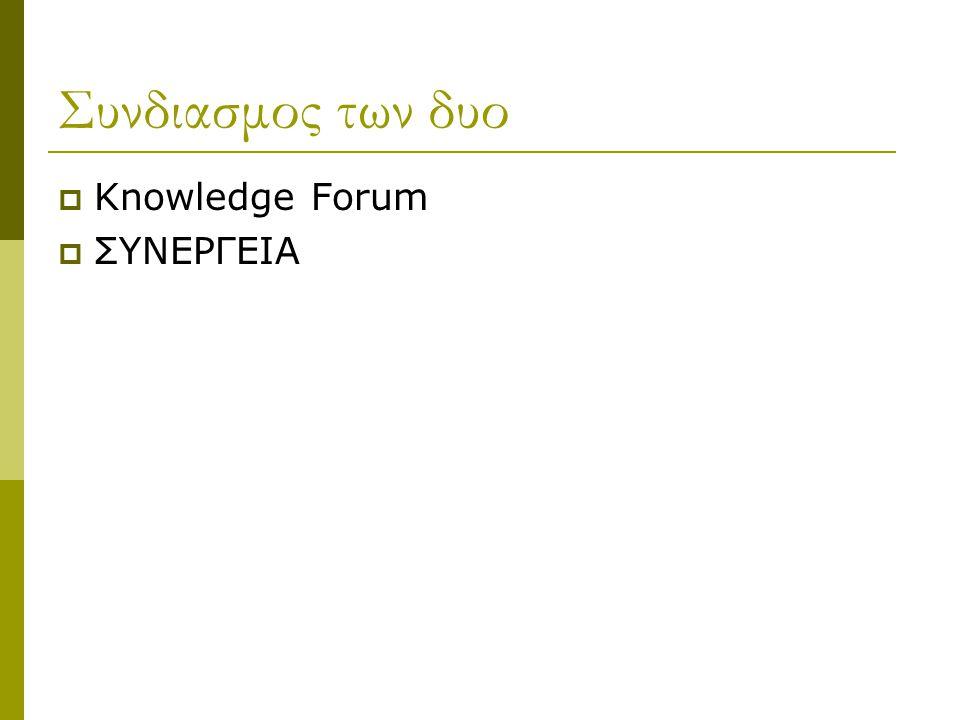 Συνδιασμος των δυο  Knowledge Forum  ΣΥΝΕΡΓΕΙΑ